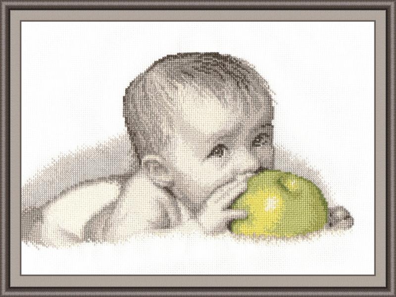 схема яблоком малыш крестом с вышивки