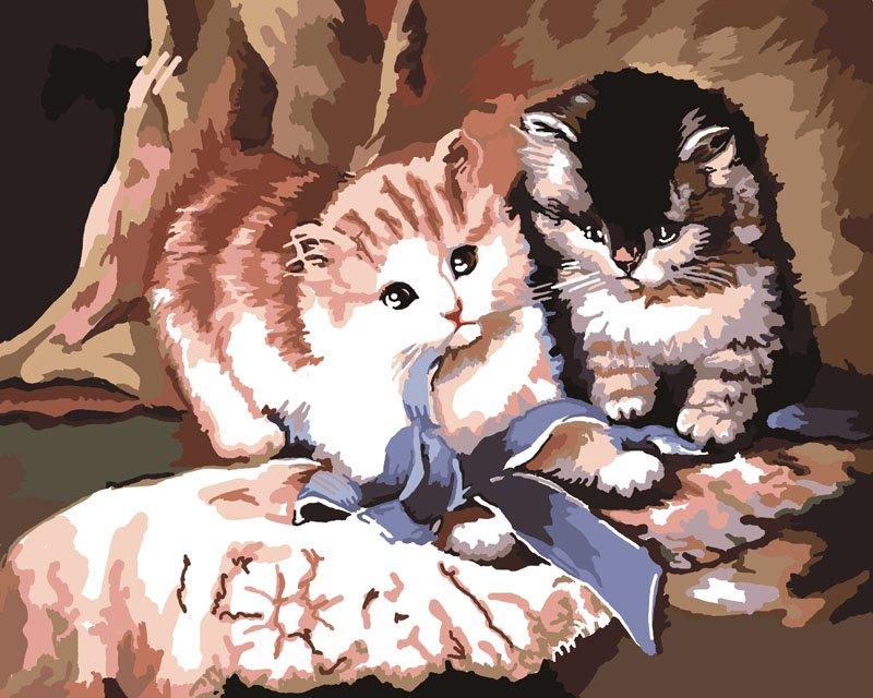 """Картина-раскраска по номерам """"Игра котят"""" (арт. CG565) от ..."""