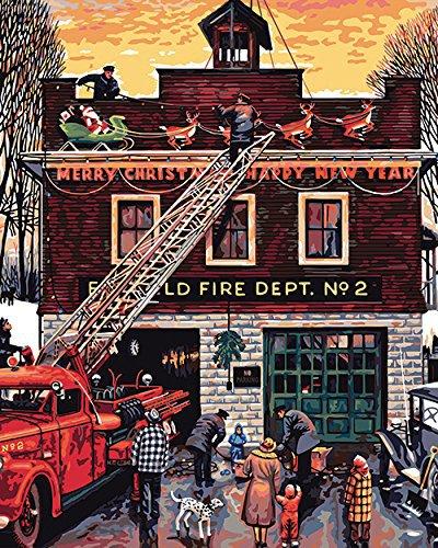 """Картина-раскраска по номерам """"Рождество на пожарной ..."""