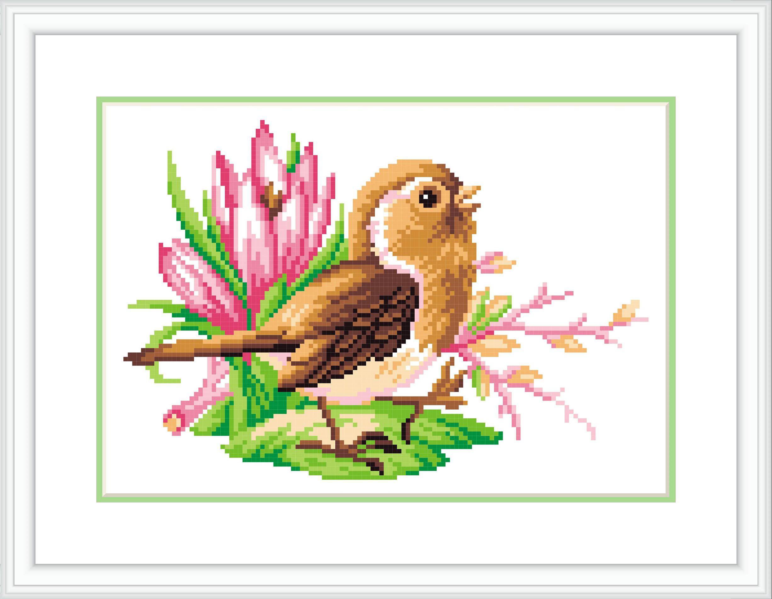 Вышивка бисером открытка 2 птичка певчая, прикол утро женщина